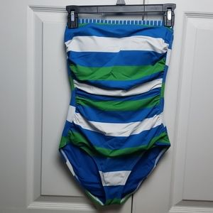 Tommy Bahama blue green white sz 10 stripe suit